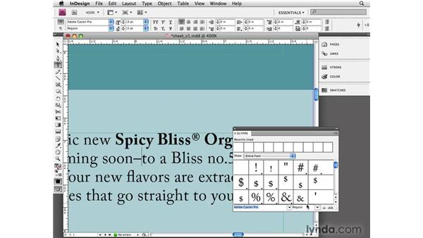 Using special characters: InDesign CS4 Essential Training