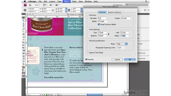 Setting text frame options: InDesign CS4 Essential Training