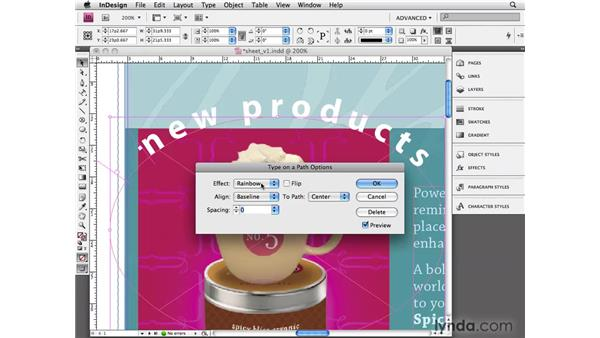 Using text on a path: InDesign CS4 Essential Training