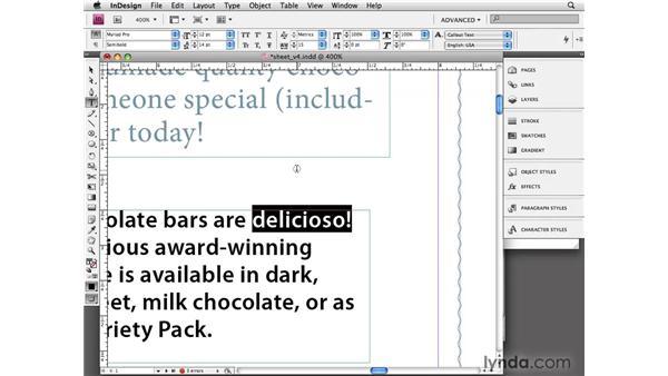 Spelling in your document: InDesign CS4 Essential Training