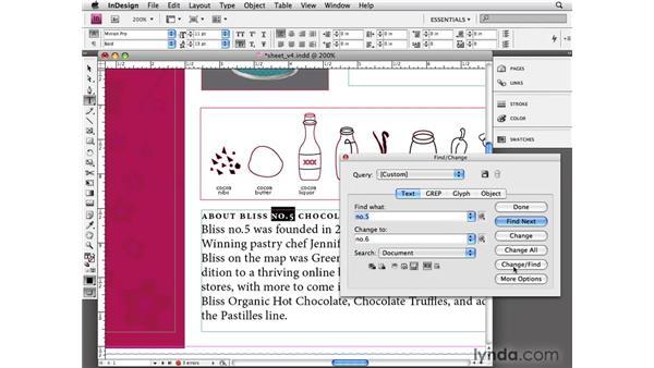 Using Find/Change: InDesign CS4 Essential Training