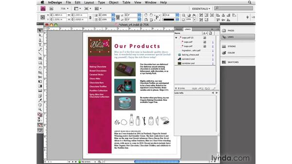 Embedding links: InDesign CS4 Essential Training
