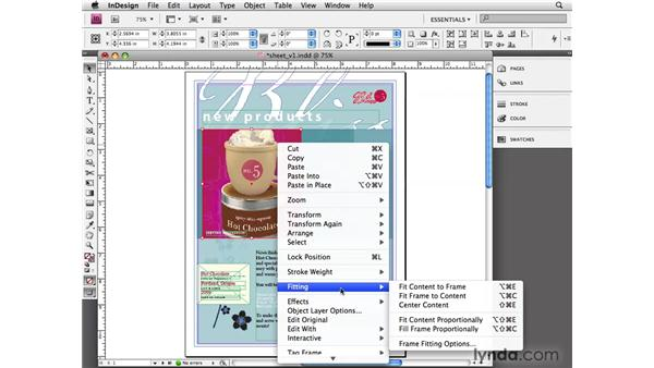 Setting frame-fitting options: InDesign CS4 Essential Training