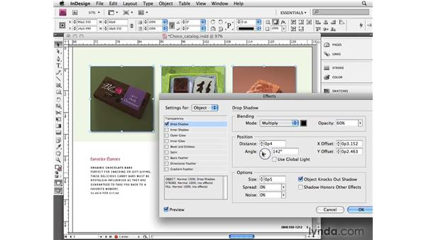 Adding drop shadows: InDesign CS4 Essential Training