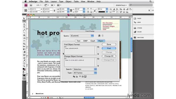 Finding and changing object formatting: InDesign CS4 Essential Training