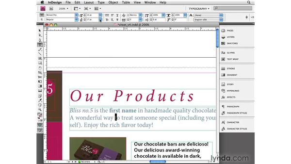 Applying basic character styling: InDesign CS4 Essential Training
