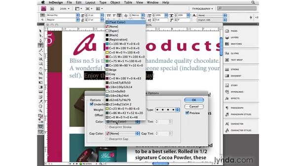 Applying advanced character styling: InDesign CS4 Essential Training