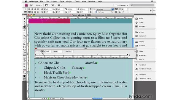 Applying tabs: InDesign CS4 Essential Training