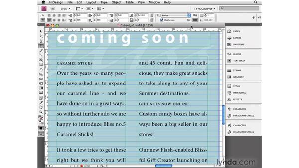 Aligning to baseline grid: InDesign CS4 Essential Training