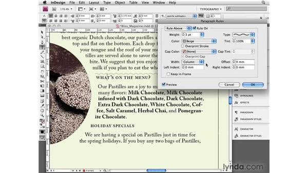 Applying paragraph rules: InDesign CS4 Essential Training