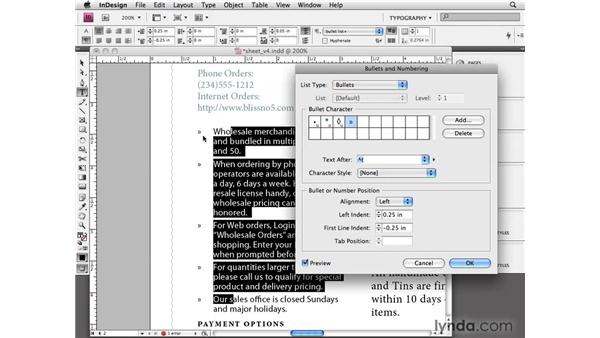 Using automatic bullets: InDesign CS4 Essential Training