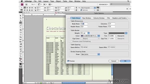 Formatting a table: InDesign CS4 Essential Training