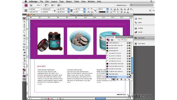 Creating color swatches: InDesign CS4 Essential Training