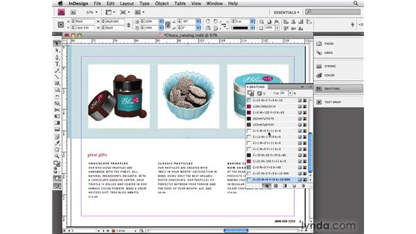 Applying tint swatches: InDesign CS4 Essential Training