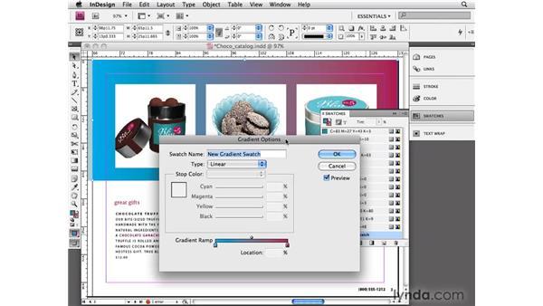 Using gradient swatches: InDesign CS4 Essential Training
