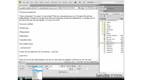 Structuring content: Dreamweaver CS4 Essential Training