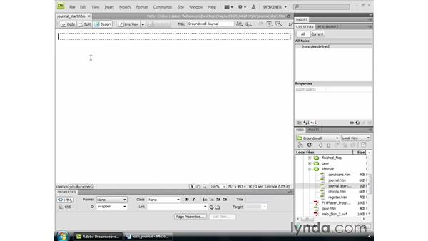 Getting text into Dreamweaver: Dreamweaver CS4 Essential Training