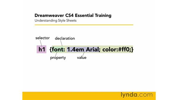 Understanding style sheets: Dreamweaver CS4 Essential Training