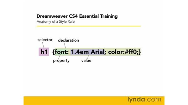 Anatomy of a CSS rule: Dreamweaver CS4 Essential Training