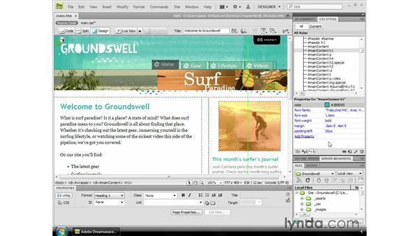 The CSS Styles panel: Dreamweaver CS4 Essential Training