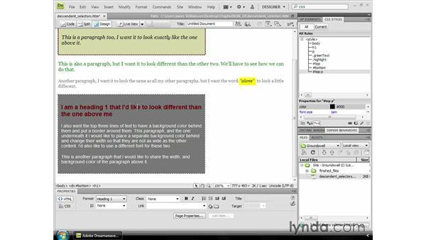 Understanding Descendent Selectors: Dreamweaver CS4 Essential Training