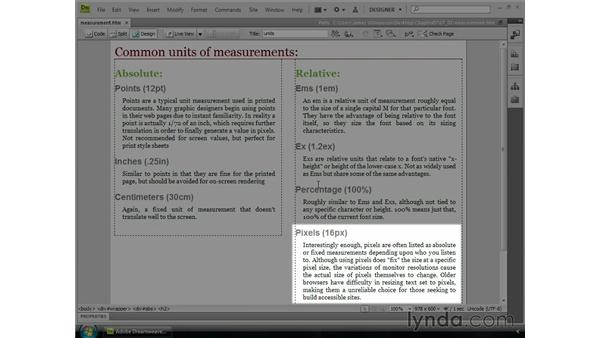 Working with units of measurement: Dreamweaver CS4 Essential Training