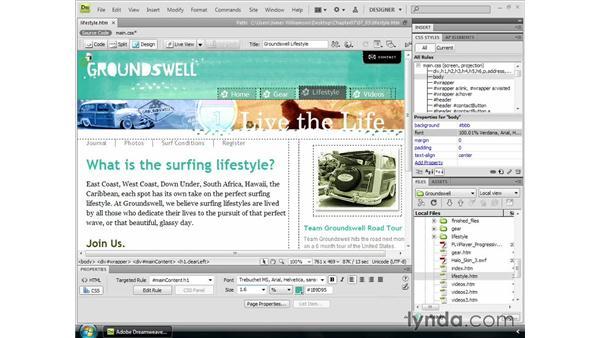 Controlling font sizing: Dreamweaver CS4 Essential Training