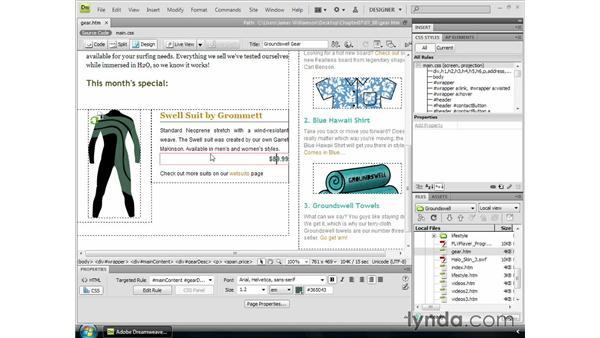 Aligning text: Dreamweaver CS4 Essential Training