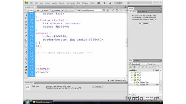 Using the cascade to control styling: Dreamweaver CS4 Essential Training