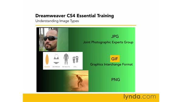Understanding image types: Dreamweaver CS4 Essential Training