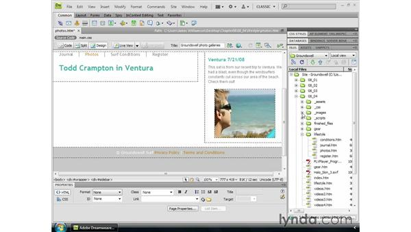 Placing images on the page: Dreamweaver CS4 Essential Training