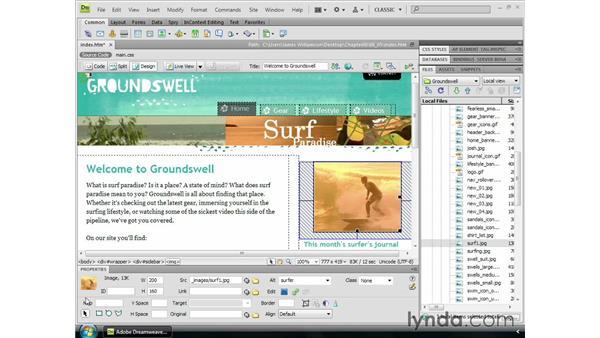 Modifying image properties: Dreamweaver CS4 Essential Training