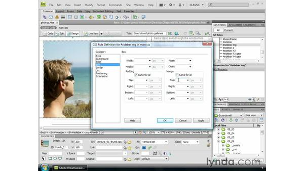 Customizing images through CSS: Dreamweaver CS4 Essential Training