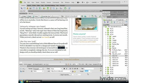 Absolute links: Dreamweaver CS4 Essential Training