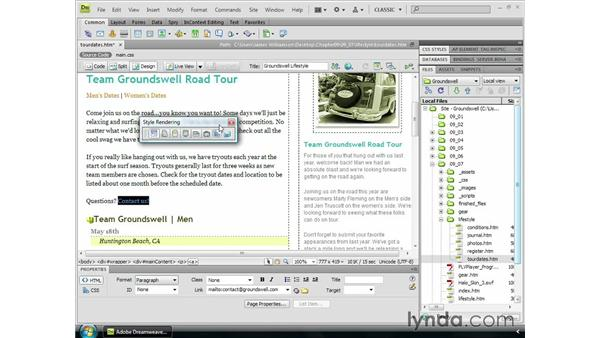 Creating an email link: Dreamweaver CS4 Essential Training