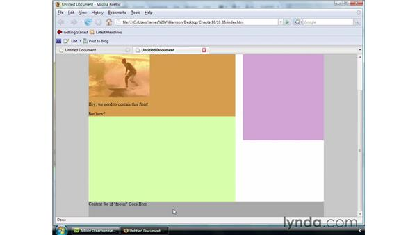 Clearing and containing floats: Dreamweaver CS4 Essential Training