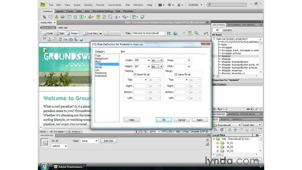 Using fixed postioning: Dreamweaver CS4 Essential Training