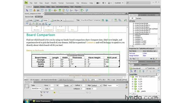 Basic table styling: Dreamweaver CS4 Essential Training