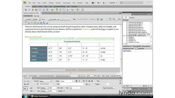 Styling column groups: Dreamweaver CS4 Essential Training