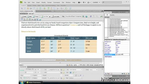 Creating custom table borders: Dreamweaver CS4 Essential Training