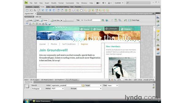 Setting form properties: Dreamweaver CS4 Essential Training