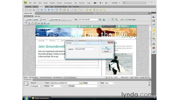 The fieldset and legend tags: Dreamweaver CS4 Essential Training