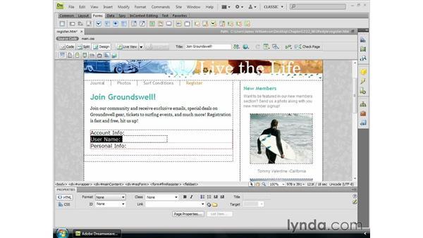 Inserting text fields: Dreamweaver CS4 Essential Training