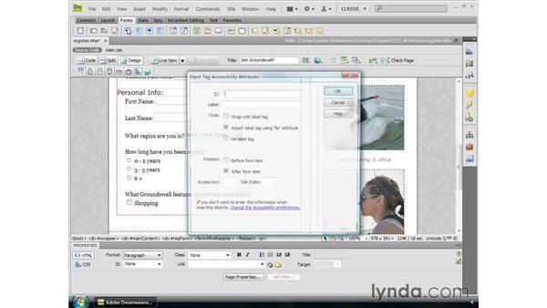 Inserting checkboxes: Dreamweaver CS4 Essential Training