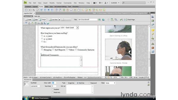 Inserting text areas: Dreamweaver CS4 Essential Training