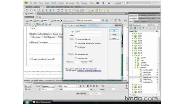 Inserting submit buttons: Dreamweaver CS4 Essential Training