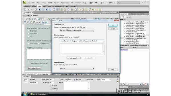 Adding form interactivity: Dreamweaver CS4 Essential Training