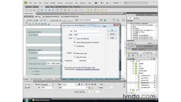 Using Spry validation widgets: Dreamweaver CS4 Essential Training