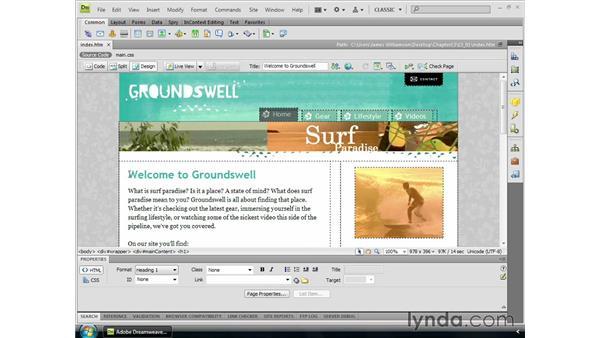 Planning for templates: Dreamweaver CS4 Essential Training