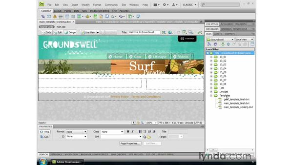 Creating a new template: Dreamweaver CS4 Essential Training